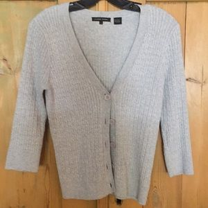 Sweaters - Light gray color cardigan 3/4 sleeves